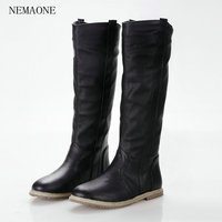 Size 34 43 2016 New Fashion Women Boots Flat Boots Knee Boots Women Black White Brown