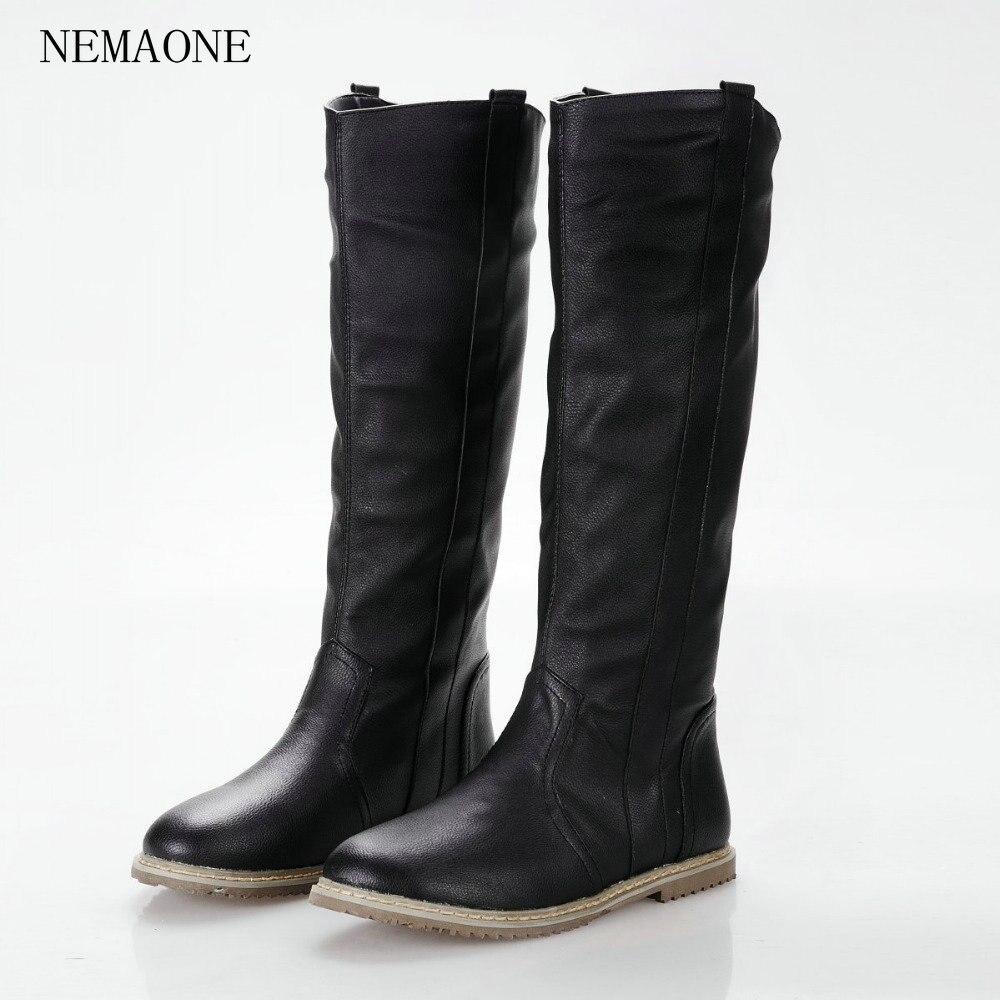 Nemaone размер 34-43 2016 Новинка Модные женские ботинки на плоской подошве сапоги для женщин, черного, белого, коричневого цвета