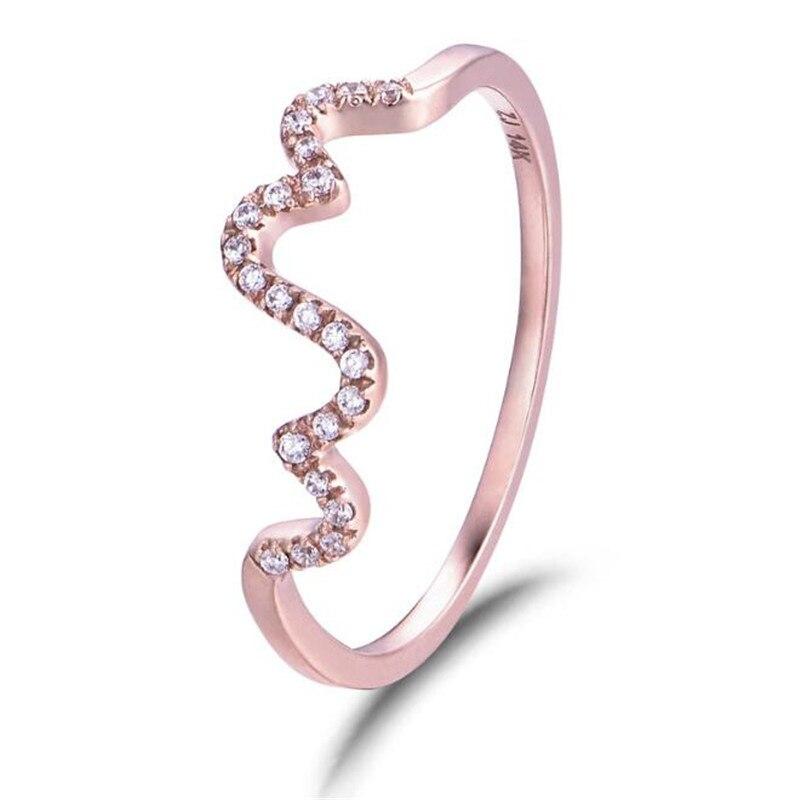 Style Simple 18 K or rond vague bagues en or Rose couleur de mode marque Rock bijoux/bijoux pour les femmes en gros