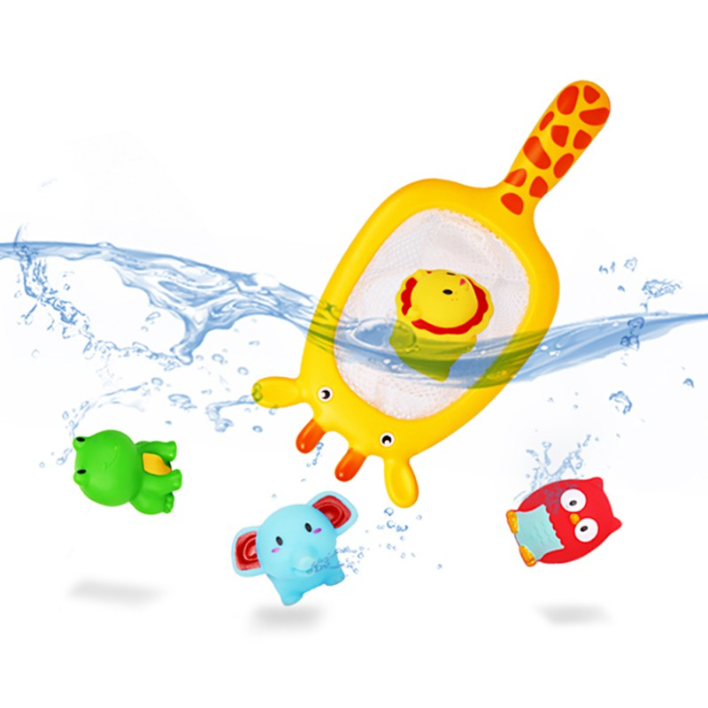 Fashion Water Baby Bath Toys Rubber Duck Bathroom Toys Floating Fish For Kids Shower Mesh Toy Children 13-24 Months