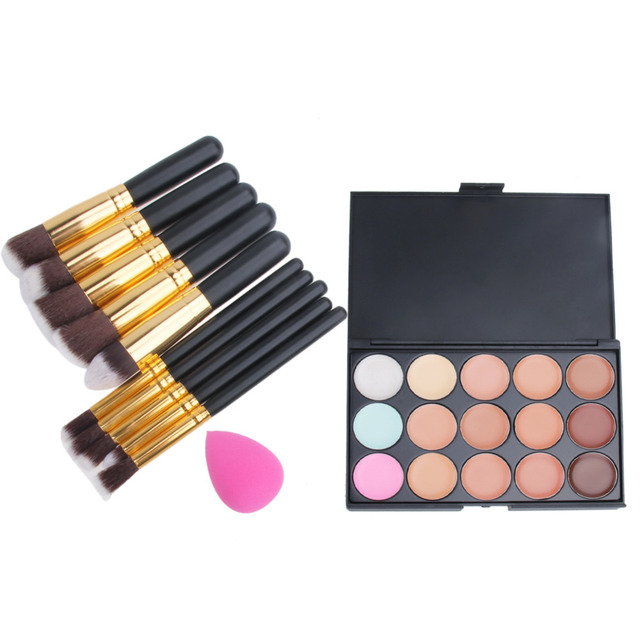 Pro 15 Colors Face Camouflage Contour Concealer Palette+Foundation Sponge Puff +10Pcs Makeup Brush Set Facial Care Maquillaje