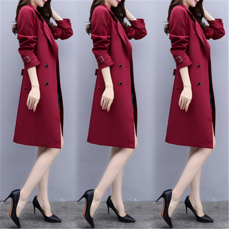 2019 New Arrival Fashion Casual Spring Autumn Solid Long   Trench   Coat For Women Feminine Female Coat Plus Size Outerwear X779