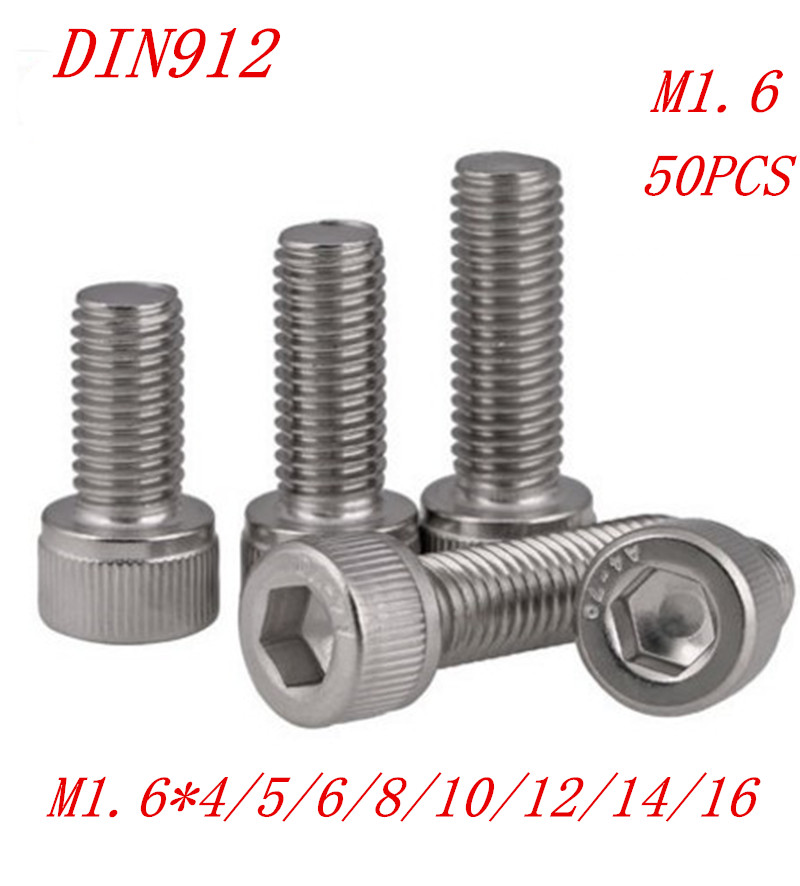 50pcs/Lot a2-70 DIN912 M1.6*3/4/5/6/8/10/12/14/16 DIN912 304 Stainless Steel Hexagon Socket Head Cap Screws Hex Socket Screw 50pcs iso7380 m3 5 6 8 10 12 14 16 18 20 25 3mm stainless steel hexagon socket button head screw