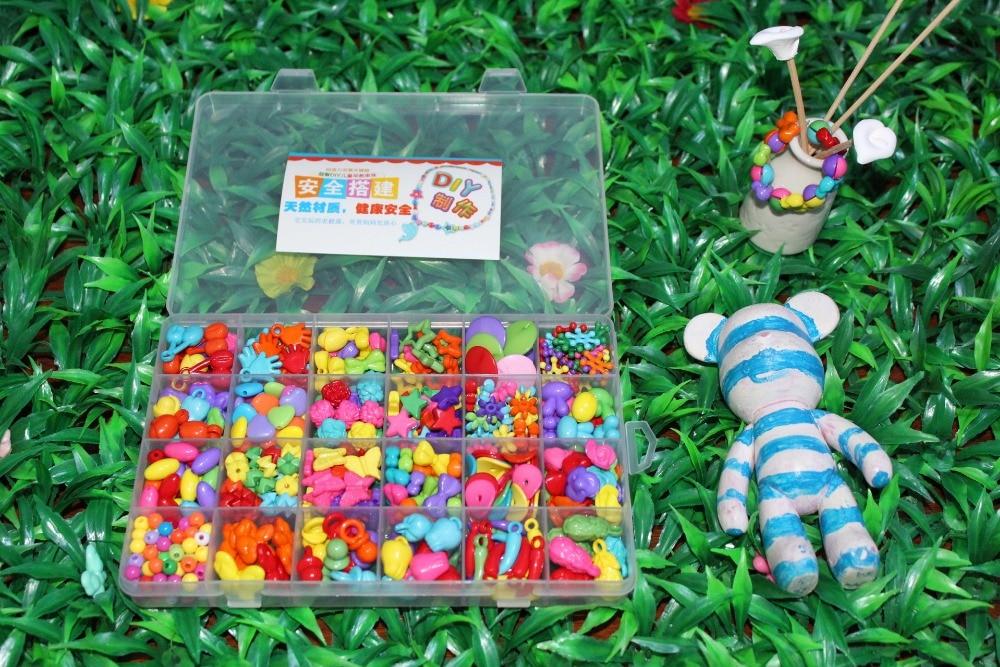 Peste 420pcs DIY margele pentru copii jucarii / bratara bratara Acrilică țesute de țesut Set de margele pentru cadou Girl / Copii margele cu cutie
