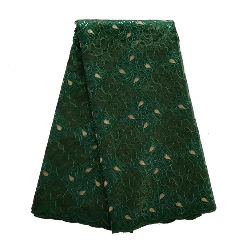 Última verde oscuro de tela de encaje bordado de lentejuelas de encaje de Organza de alta calidad tela de encaje francés para la boda