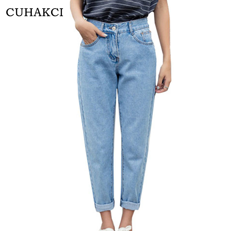 CUHAKCI 2018 New Slim Pencil Pants Women`s Plus Size High Waist Light Blue True Denim Pants Boyfriend   Jean   Femme For Women   Jeans