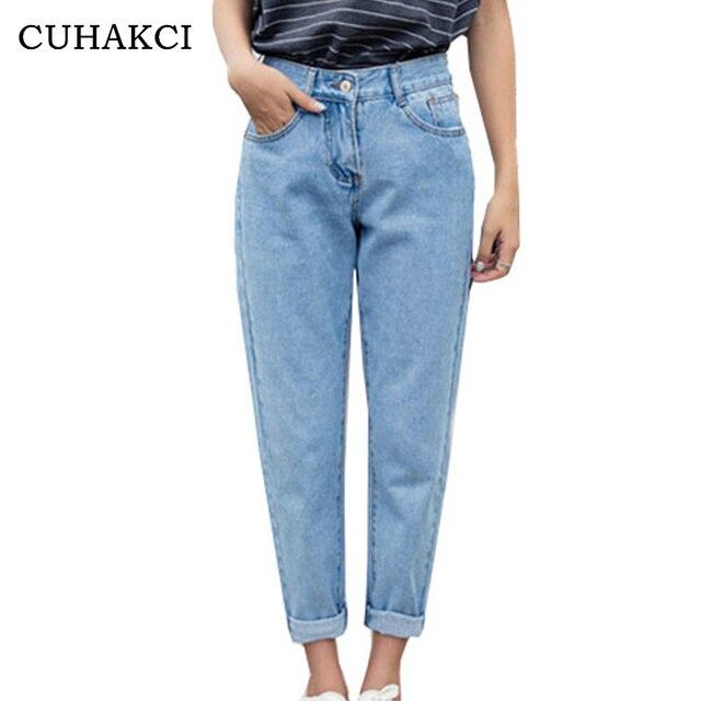 CUHAKCI 2018 New Slim Pencil Pants Women`s Plus Size High Waist Light Blue True Denim Pants Boyfriend Jean Femme For Women Jeans