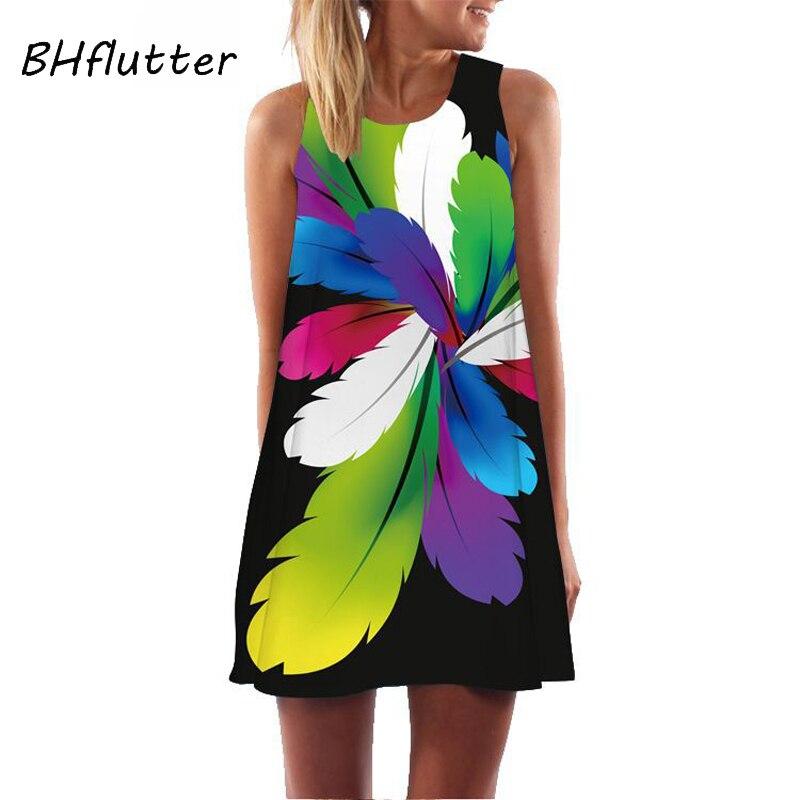 BHflutter Women Dress 2019 New Arrival Floral Print Short Chiffon Summer Dress Sleeveless Casual Loose Boho Beach Dress Sukienki