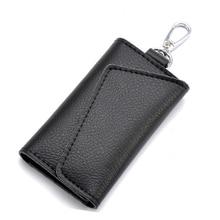 2017 Genuine Cow Leather Men Key Wallets buckle Housekeeper Key Case Holder Men's Housekeeper Keys Organizer Male Keysmart Case