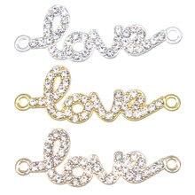 6 pcs conector amor pulseira de ouro e prata cartas de AMOR que faz a mão colar jóias encontrar acessórios DIY 14*40 * 2mm