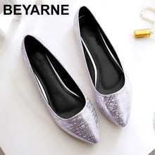 BEYARNE Women casual flat heel shoes 2018 PU leather soft bottom pointed Toe comfortable leather Women's shoes flats