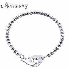 Moonmoryフランスの人気925スターリングシルバー手錠ブレスレット女性のための多くシルバービーズチェーン手錠ブレスレットmenottes