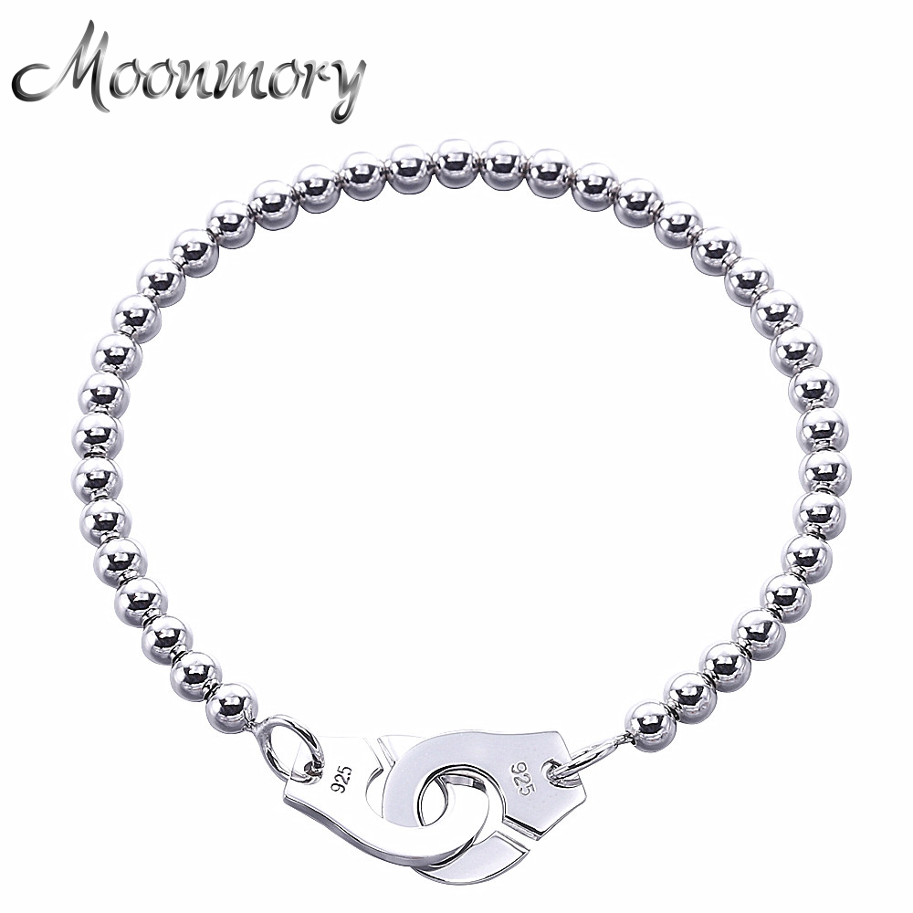 Moonmory France Popular 925 Sterling Silver Handcuff Bracelet For Women Many Silver Beads Chain Handcuff Bracelet Menottes france popular jewelry 925 sterling silver handcuffs bracelet for men women with rope zircon silver pendant bracelet menottes