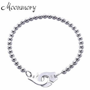 Image 1 - Moonmory France Popular 925 Sterling Silver Handcuff Bracelet For Women Many Silver Beads Chain Handcuff Bracelet Menottes
