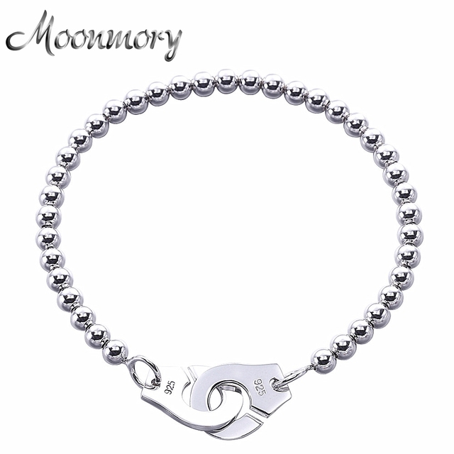 Moonmory France Por 925 Sterling Silver Handcuff Bracelet For Women Many Beads Chain