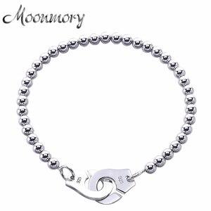Image 1 - Moonmory Frankrijk Populaire 925 Sterling Zilveren Handboeien Armband Voor Vrouwen Vele Zilveren Kralen Chain Handboeien Armband Menottes