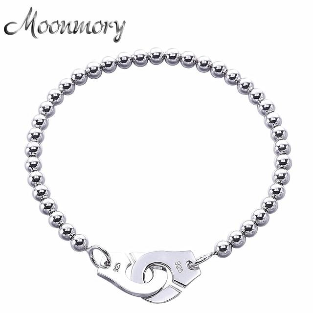 Moonmory Frankrijk Populaire 925 Sterling Zilveren Handboeien Armband Voor Vrouwen Vele Zilveren Kralen Chain Handboeien Armband Menottes