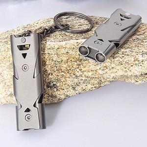Image 5 - אלומיניום בתדירות גבוהה Molle חירום הישרדות משרוקית Keychain לקמפינג טיולים חיצוני ספורט אביזרי כלים 150 dB חם