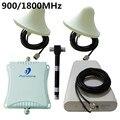 900 / 1800 MHz celular GSM repetidor de sinal amplificador 3 G LTE 4 G de reforço com 2 interior antena exterior + 1 + cabo + Power Splitter