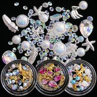1 Box AB   Nail   Art Rhinestones Glitter Mixed Pearl Caviar Micro Beads Crystal 3D Jewelry Gem Charms   Nail   Art   Decoration   TR30-36