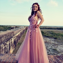 Colorful Charming Sexy Sleeveless Tulle A Line Long Prom Dre