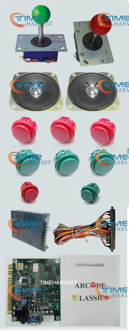 1set Arcade parts Bundles kit With 60 in 1PCB,16A Power Supply,Red long/short Joystick,button,Harness,Speaker for Arcade Machine arcade parts bundles kit with 60 in 1 board power supply joystick push button microswitch harness glass clips coin door camlock