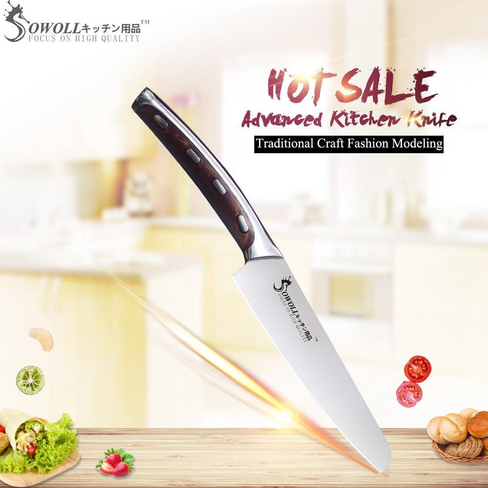 SOWOLL marca muy afilada y duradera 4cr14mov cuchillo de cocina de acero inoxidable 5 pulgadas herramienta de corte de cuchillo de mango de fibra de resina