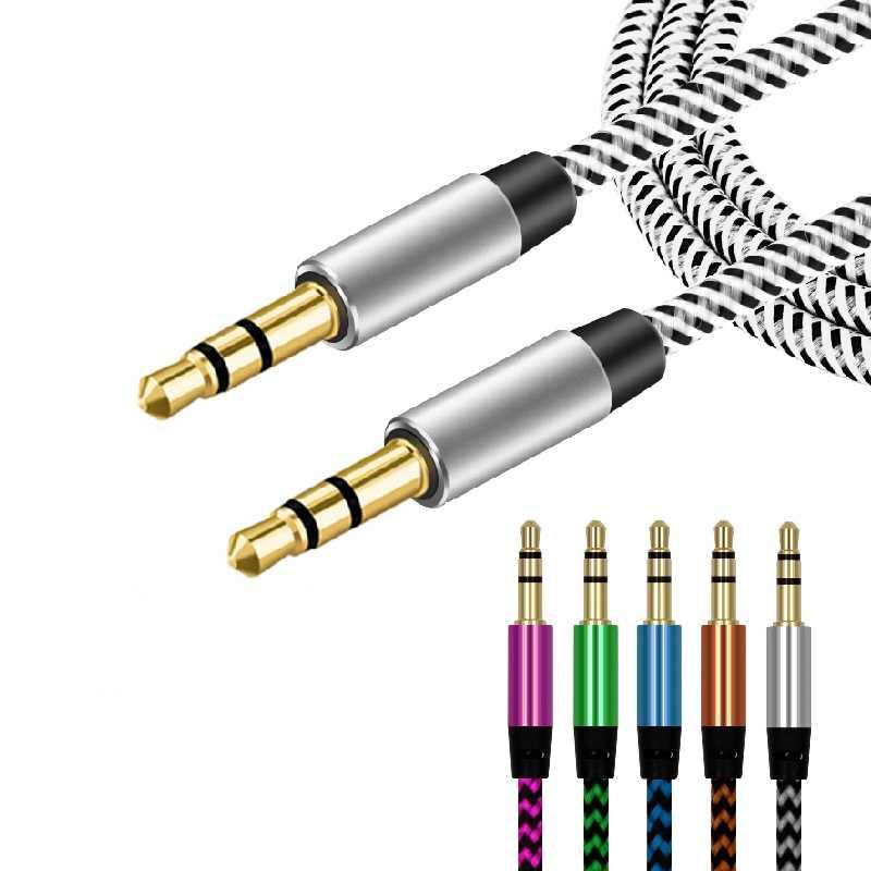 Нейлоновый аудио кабель 3,5 мм разъем штекер Aux кабель Золотая пробка Aux Шнур для iPhone 5 6 для Xiaomi для samsung стерео динамик