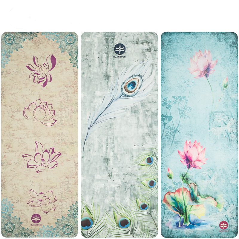 natural rubber Suede YOGA MAT Heathyoga PRO Yoga Matwith flower print Durable Rubber BaseRevolutionary non slip