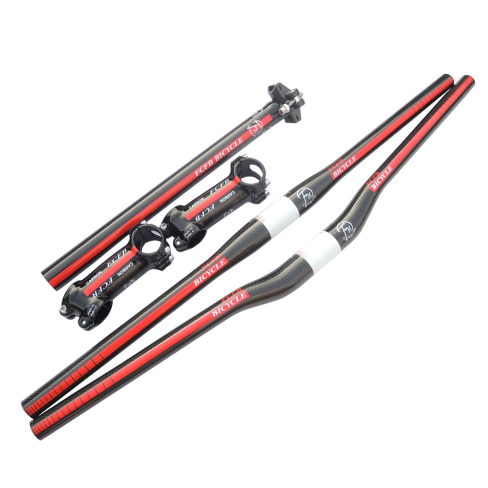 FCFB FW  red  Broad-brush carbon handlebar  set mtb bike rise/flat  handlebar +  seatpost + Carboalumination stem+ cap +washer top fcfb fw red broad brush carbon handlebar set mtb bike rise flat handlebar seatpost carboalumination stem cap washer