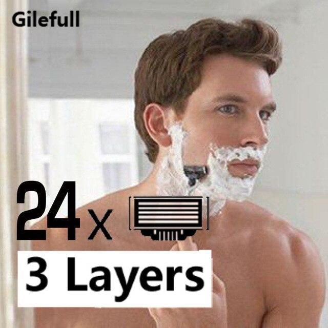Lâmina de Barbear Lâminas de Substituição Lâminas de Barbear Masculino para Mach Camadas Homens Rosto Manual 24 Pçs 3