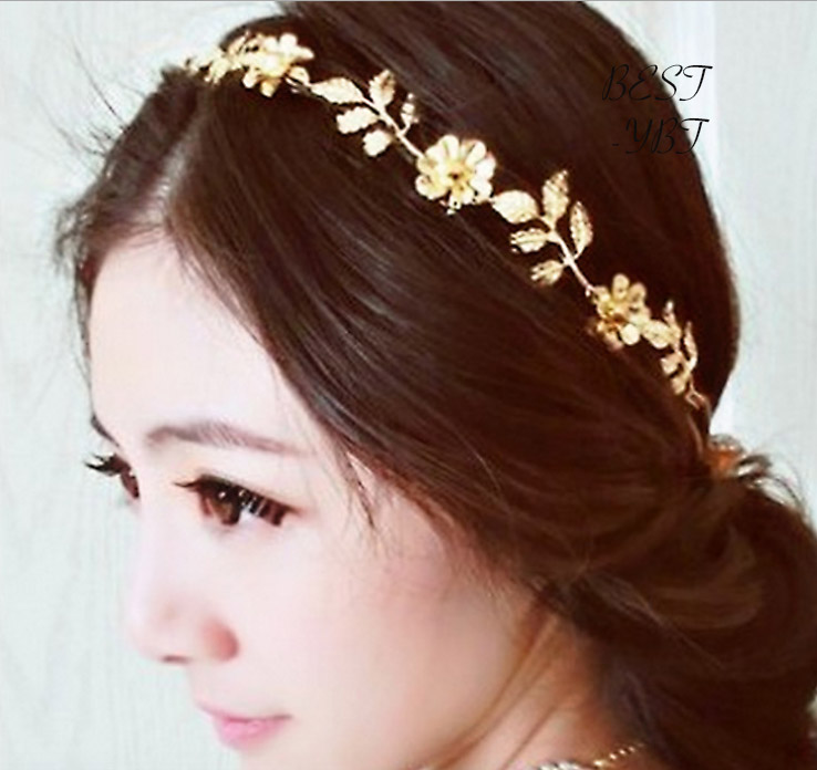 River Island Leaf And Gold Chain Vintage Stretch Headbands Women Wedding Party Hair Acessories Headwear Women Hair Jewelry