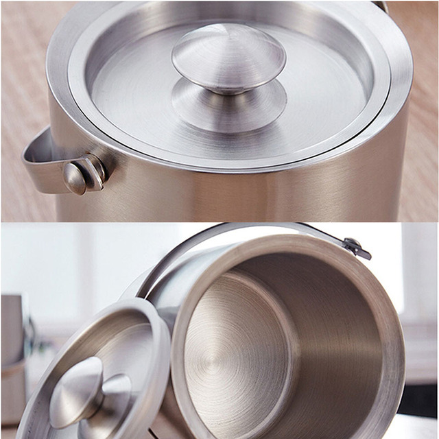 Stainless Steel Cooling Ice Bucket with Tongs