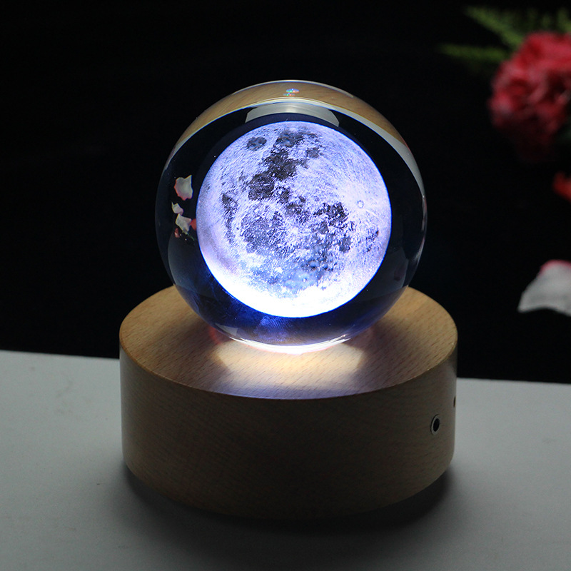 Rotating Luminous Moon Music Box Crystal Ball 3d Illusion Lamp USB Led Night Light Christmas Gift Kids Lights Decoration Home - 2