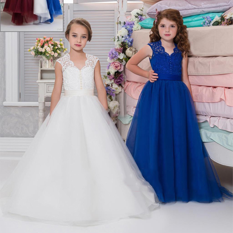 цена 2017 New Beading Lace V-neck Flower Girl Dress Baby Prom Girls Dress Holy First Communion Dress Kids Birthday Princess Dresses