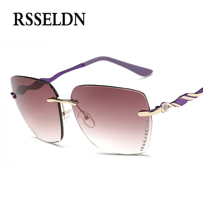 RSSELDN New Crystal Diamond Rimless Sunglasses Women Brand Designer Style Gradient Shades Oversized Square Sun Glasses UV400