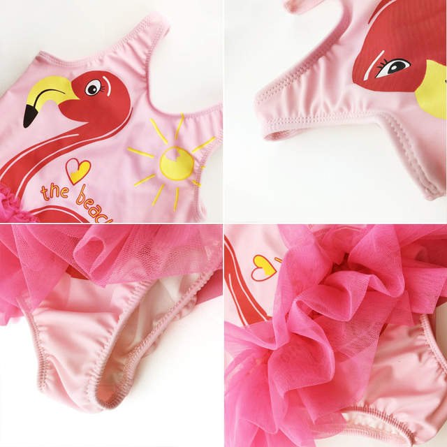 20092cfaf1 Pink Flamingo Swimsuite for Baby Girl swimwear One Piece Bathing Suit  Little Girls Bodysuit Lace Cute