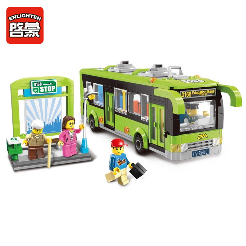 1121 ENLIGHTEN City Bus Station Model Building Blocks Action Figure Toys For Children Compatible Legoe decool 3114 city creator 3in1 vehicle transporter building block 264pcs diy educational toys for children compatible legoe
