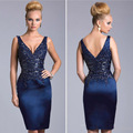 Sexy Corset Short Cocktail Dresses 2016 Backless Knee Length Prom Party Gown Beaded Navy Blue Formal Mother Of Bride Plus Size