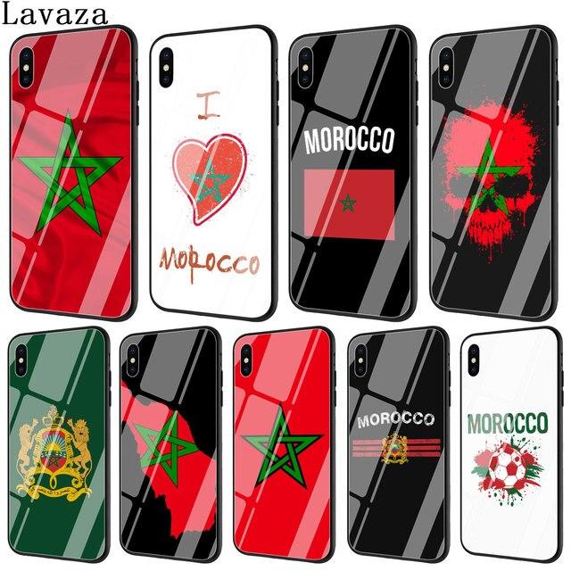 Lavaza morocco cờ bóng đá bóng đá Tempered Glass Điện Thoại Bìa Trường Hợp đối với Apple iPhone XR X XS Max 6 6 s 7 8 cộng với 5 5 s SE 10