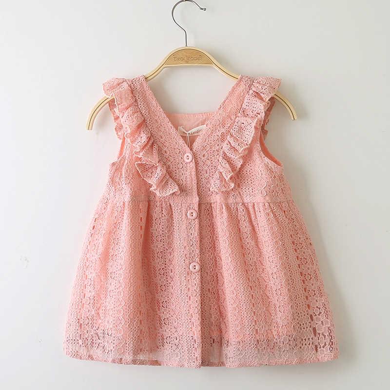 4aeb370b66cca Girls Dress 2019 New Style Summer Kids Bright color Cute Lace Dress  Children Sleeveless Princess Dress Children Clothes Dresses