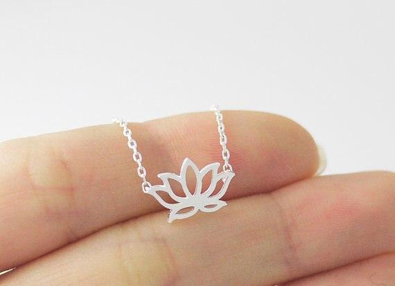 unids de elegante collar de la flor del ptalo de la flor pequea flor de loto planta hueco colgante collar de la joyera de r