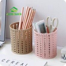 Imitation Rattan Plastic Pen Holder Multifunctional Simple Hollow Student Desktop Storage Box Office Stationery Pen Barrel