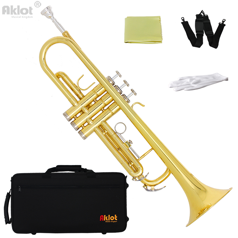 Aklot Intermediate Bb Trumpet Marching Band Horn Gold with Original Silver Plated Mouthpiece for Music Education trumpet mouthpiece set silver plated 4 sizes convertible 7c 5c 3c 1 1 2c
