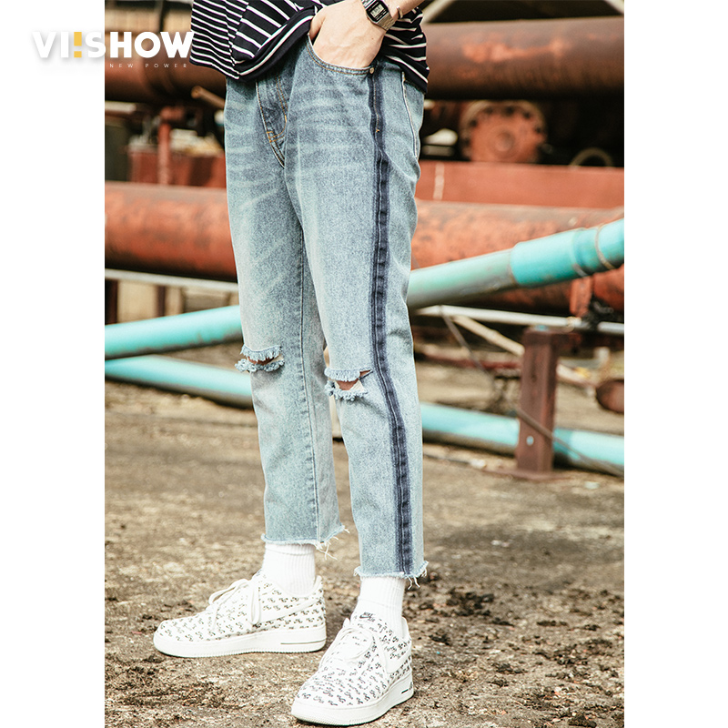 VIISHOW Brand Designer Slim Fit Ripped Jeans Men High Street Mens Distressed Denim Pants Knee Holes Washed Destroyed Jeans