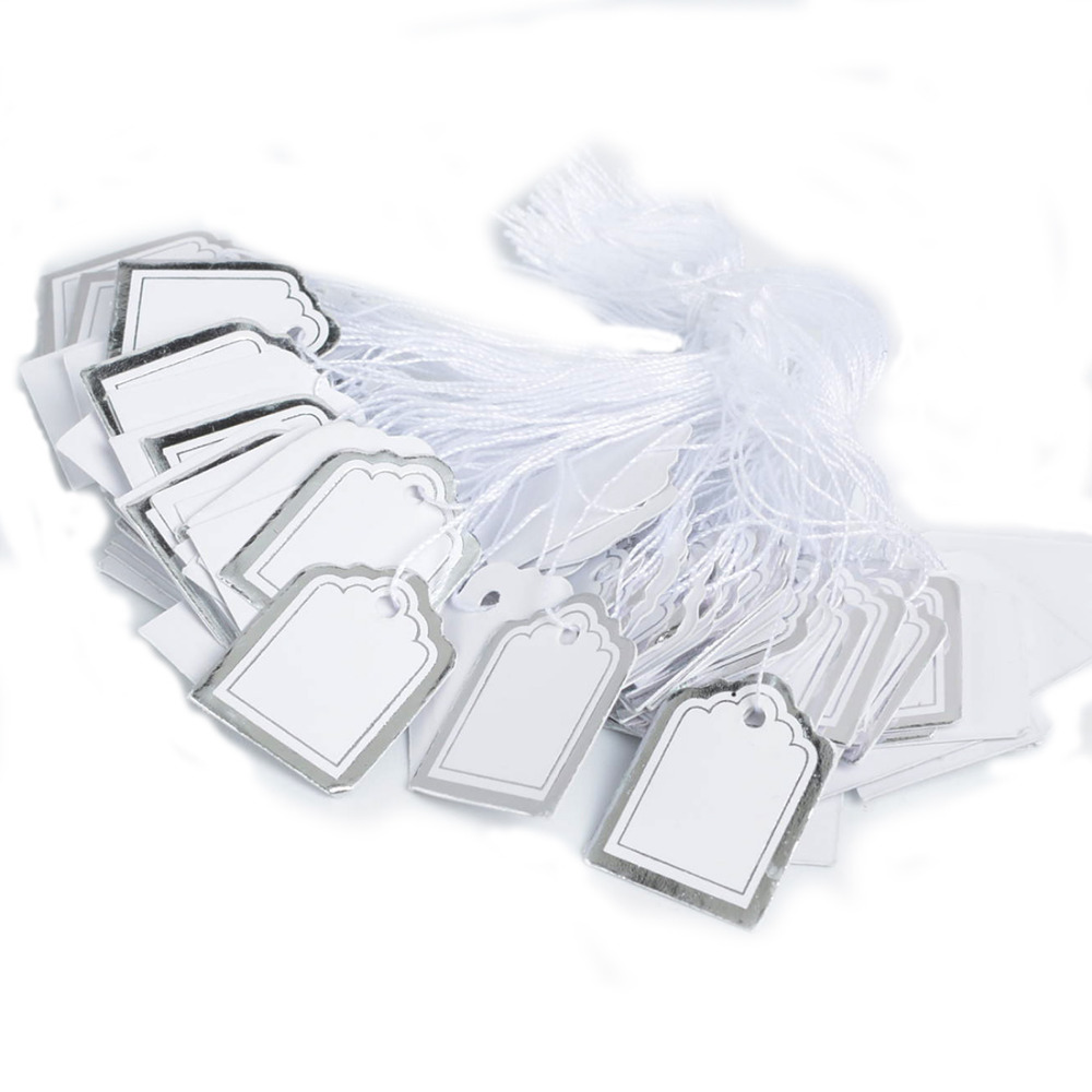 500pcs Paper Tags Price Display Price Silver Color Labels Pricing Tags With Strings Luggage Wedding Blank Price Hang Tag