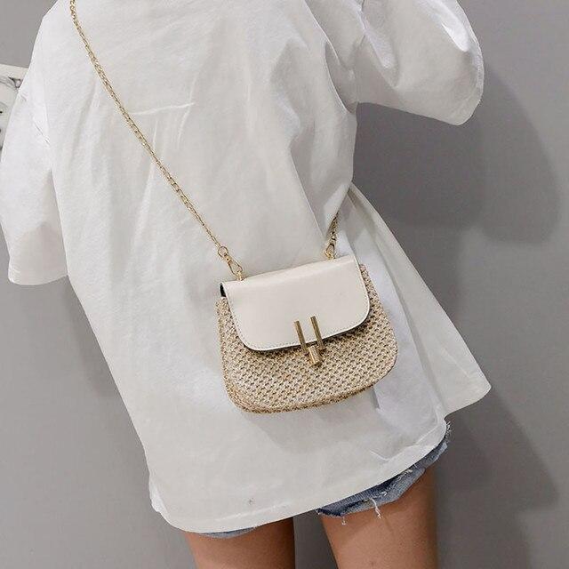 Aelicy Fashion women's Summer Rattan Bag Square Straw hand-woven Beach Messenger Bag Bohemian Bali Handbag 1