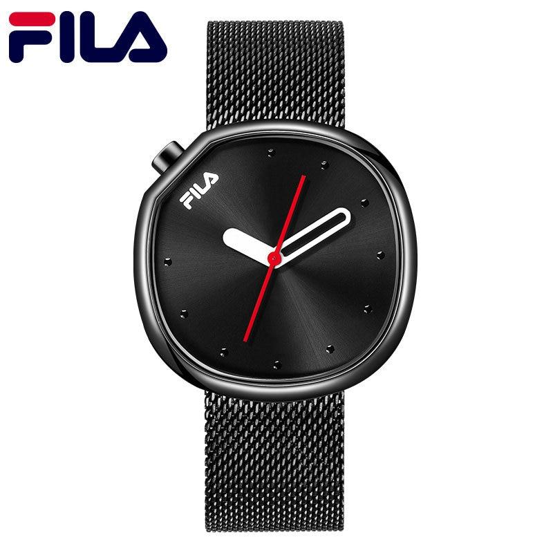 ba67eebf23657d Fila Mens Woman Quartz Watch Stainless Steel Mesh Band Slim Men Student  Sports Wristwatch New Watches Original 162