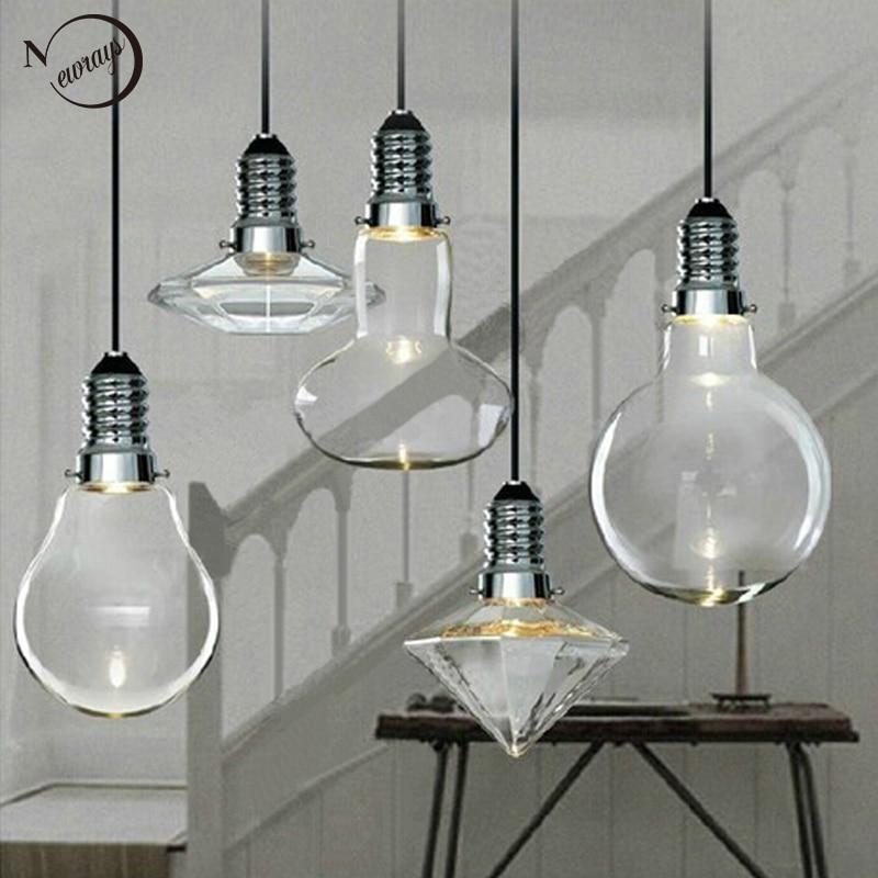 где купить Loft Modern Art Deco Hanging Clear Glass Crystal Lamp Shade Loft Pendant Lamp LED GU10 Lights Lustres Kitchen Bar Living Room по лучшей цене