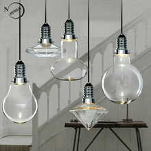Loft Modern Art Deco Hanging Clear Glass Crystal Lamp Shade Loft Pendant Lamp LED GU10 Lights Lustres Kitchen Bar Living Room